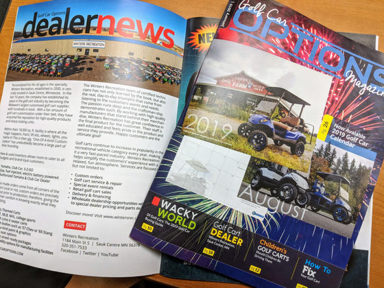 "Winters Rec landed in the ""Dealer News"" section of Golf Car Options Magazine"