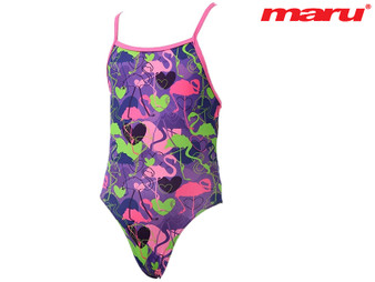 Maru Flamingo Pacer Aero Back Girls Swimsuit (Pink/Purple)