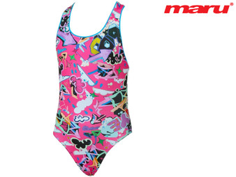 Maru Scribble Pacer Rave Back Girls Swimsuit (Pink/Multi)