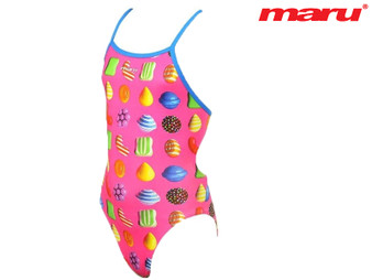 Maru Candy Pacer Aero Back Girls Swimsuit (Pink)