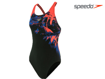 Speedo ColourRays Placement Powerback Ladies Swimsuit (Black/Red)