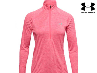 Under Armour Heat Gear Twist Tech Ladies Half Zip Long Sleeve (Pink)