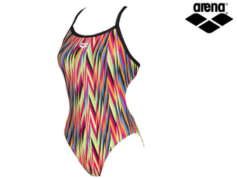 Arena Speed Stripes Challenge Back Ladies Swimsuit (Black/Multi Orange)