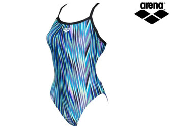 Arena Speed Stripes Challenge Back Ladies Swimsuit (Black/Multi Green)
