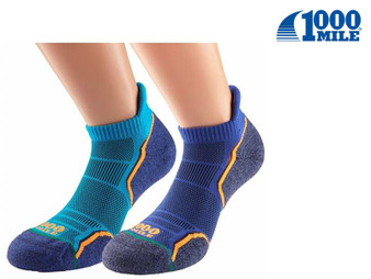 1000 Mile Run Socklet Mens Twin Pack (Kingfisher/Navy)