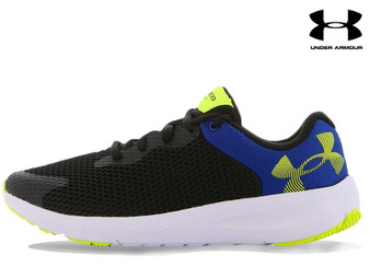 Under Armour Charged Pursuit 2 BL Kids Running Shoe (Black/White/Hi-Vis Yellow)