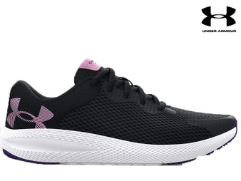 Under Armour Charged Pursuit 2 BL Kids Running Shoe (Black/White/Purple)