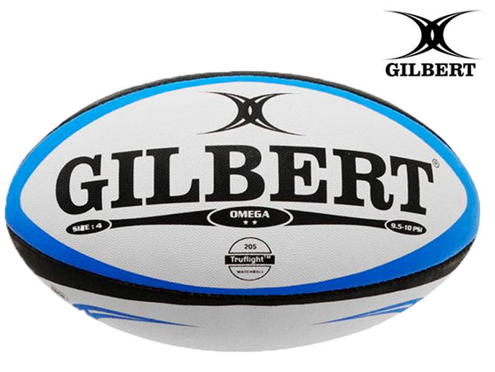 Gilbert Omega Rugby Ball Size 4 (White/Blue)