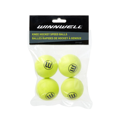 KNEE HOCKEY BALL 50MM PU YELLOW 4-PACK