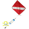 Standard Scuba Diving Float, 14inch x 18inch Nylon Dive Flag with Wire, and 100 Feet of Nylon (White) Line