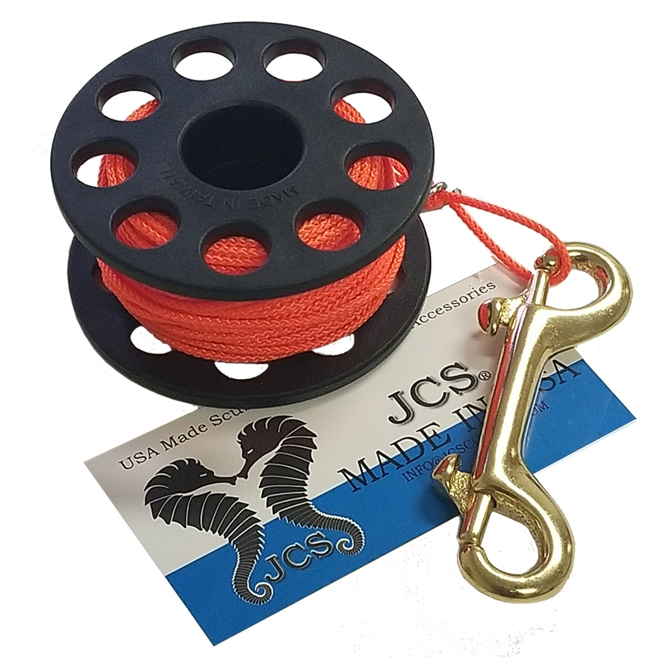 """3"""" Finger Spool with 100FT. #24 Braided Polyester Dacron Reel Line and 4"""" Double End Marine Grade Brass Bolt Snap"""