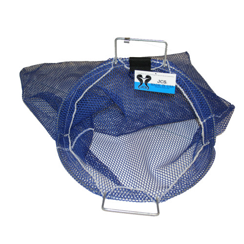 Large Uncoated Galvanized Wire Handle Mesh Catch Bag with D-Ring, Approx. 24inch x 28inch