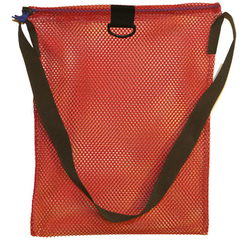 Small Mesh Drawstring Tote Bag with Shoulder Strap & D-Ring. Approx. 15x20