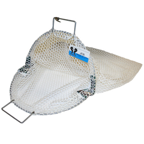 White Nylon Commercial Scallop Bag with Coated Wire, Large, Approx. 27inch x 28inch