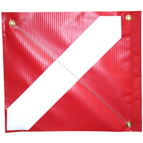 Vinyl Dive Flag with Brass Grommets & Steel Spring Wire Stiffener, (14inch x 18inch, Red & White Dive Flag)