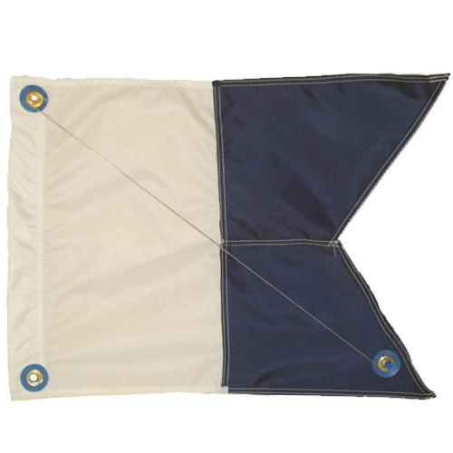 Nylon Alpha Flag with Steel Spring Wire Stiffener, 14x18