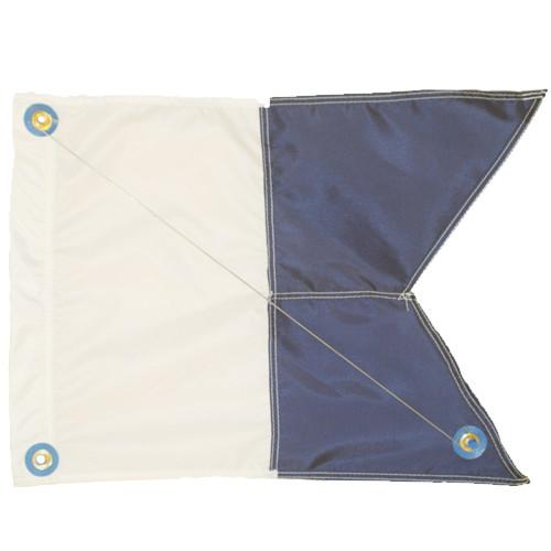 Nylon Alpha Flag with Brass Grommets & Steel Spring Wire Stiffener, (20inch x 22inch, Blue & White Dive Flag)