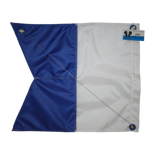 Nylon Alpha Flag with Brass Grommets & Steel Spring Wire Stiffener, (31inch x 36inch, Blue & White Dive Flag)