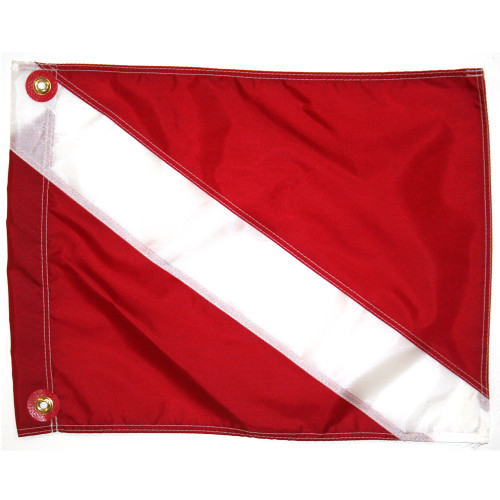 Nylon Dive Flag, Slip on Style (14inch x 18inch, Red & White Dive Flag)