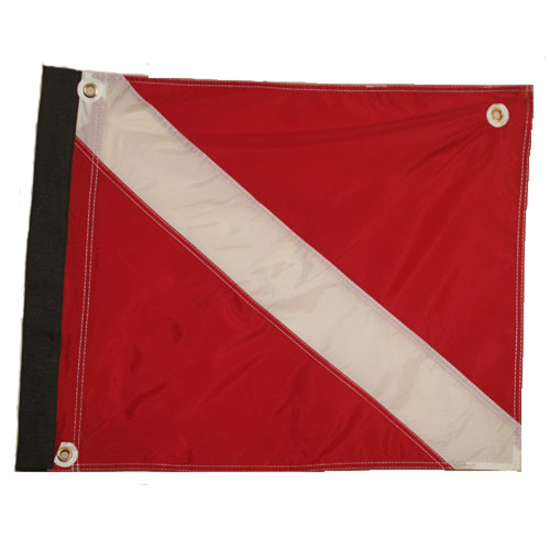 Nylon Scuba Flag with Velcro Side & Plastic Stiffener (14inch x 18nch, Red & White Dive Flag)