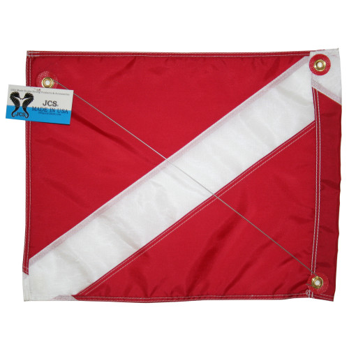 Nylon Dive Flag with Brass Grommets & Steel Spring Wire Stiffener, Float Flag, (14x18)