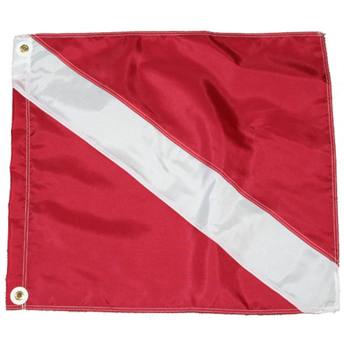 Nylon Dive Flag, Slip on Style (20inch x 24inch, Red & White Dive Flag)