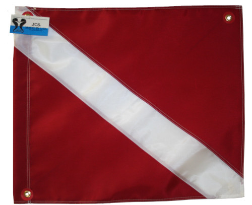 Nylon Dive Flag with Brass Grommets & Steel Spring Wire Stiffener, 20x24