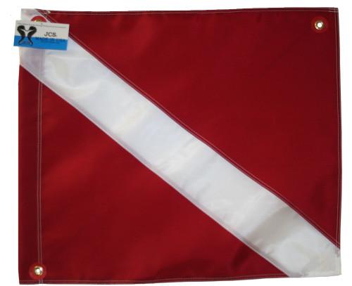 Nylon Dive Flag with Brass Grommets & Steel Spring Wire Stiffener, 20x24