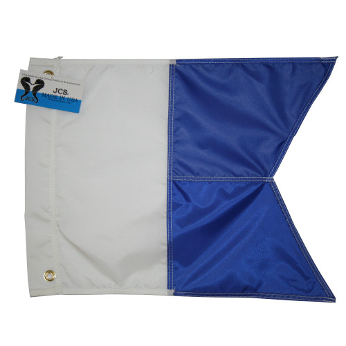 Nylon Alpha Flag, Slip on Style (14inch x 18inch, Blue & White Dive Flag)