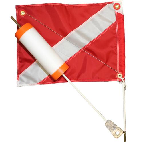 Foam Dive Float with 14x18 Nylon Dive Flag, Orange Caps
