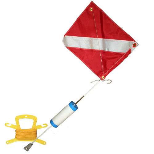 Scuba Diving Float, 14inch x 18inch Nylon Dive Flag with Wire, and 100 Feet of Poly (Yellow) Line