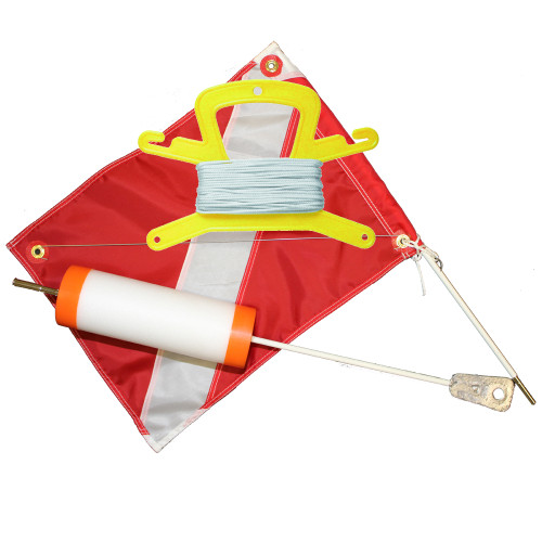 Foam Scuba Diving Float with 14inch x 18inch Dive Flag and 100 Feet Nylon (White) Line