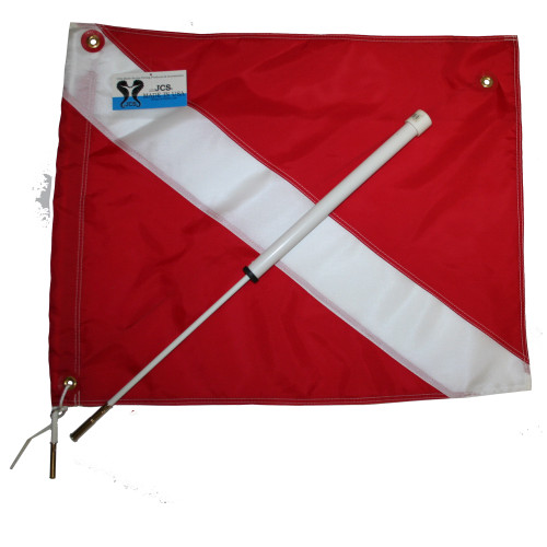 Boat Dive Flag Mount with 20inch x 24inch Nylon Dive Flag