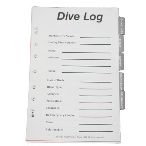 Dive Log Organizer Pages. Dive Log, Maps, Notes, Equipment, Address