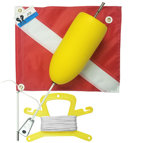 Super Float with Large 20x24 Nylon Dive Flag, Line Holder & 100FT. Nylon (White) Line