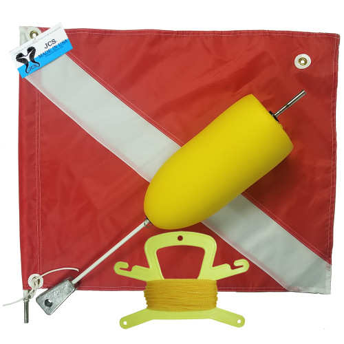 Super Float with Large 20x24 Nylon Dive Flag, Line Holder & 100FT. Poly (Yellow) Line