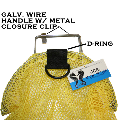 Galvanized Wire Handle Mesh Catch Bag with D-Ring, Approx. 17x28