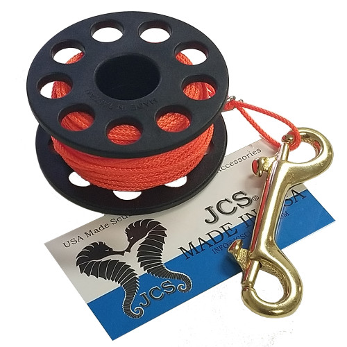 "3"" Finger Spool with 100FT. #24 Braided Polyester Dacron Reel Line and 4"" Double End Marine Grade Brass Bolt Snap"
