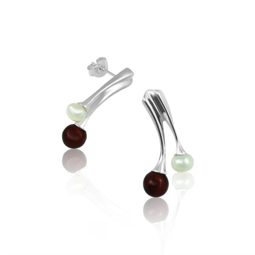 Cherry Color Baltic Amber & White Pearl Post Earrings in Sterling Silver