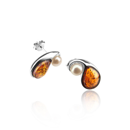 Cognac Color Baltic Amber & White Pearl Post Earrings in Sterling Silver