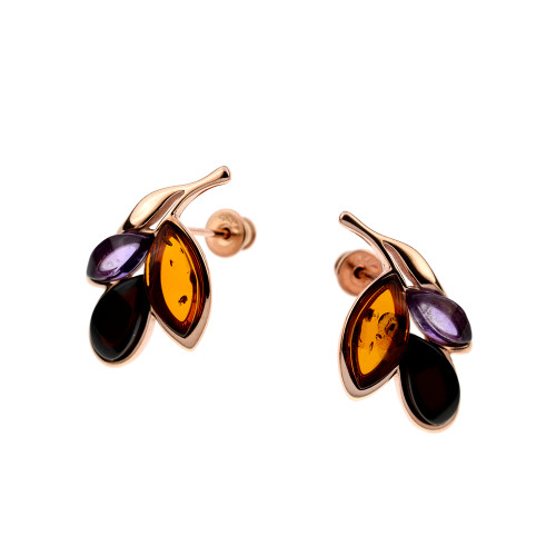Multi Color Baltic Amber & Amethyst Post Earrings in Gold Plated Sterling Silver