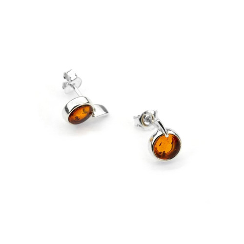 Small Stud Cognac Color Baltic Amber Earring in Sterling Silver