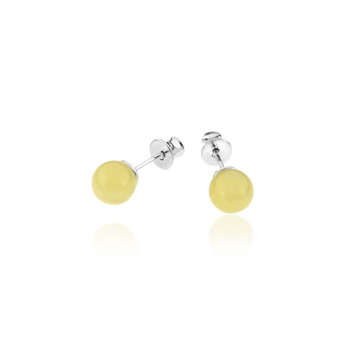 Small Ball Butterscotch Color Baltic Amber Stud Earring in Sterling Silver