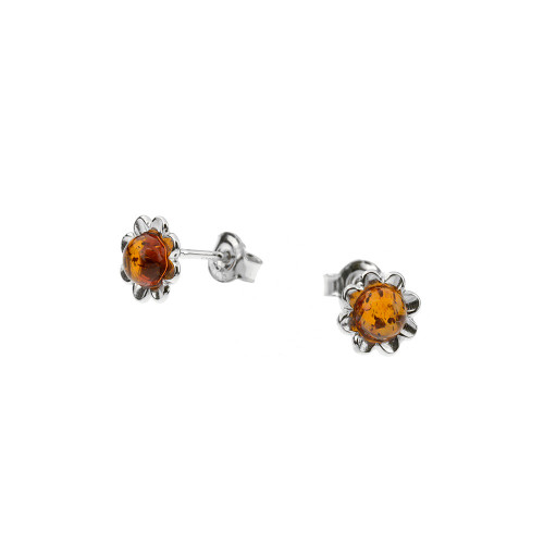 Stud Earrings Flower shape with Cognac Color Baltic Amber  in Sterling Silver