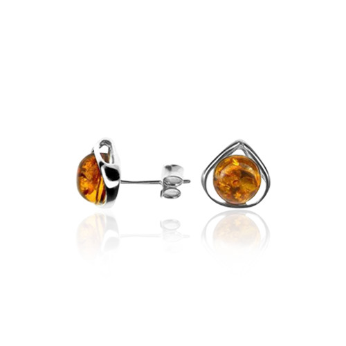 Stud Earrings with Cognac Color Baltic Amber  in Sterling Silver