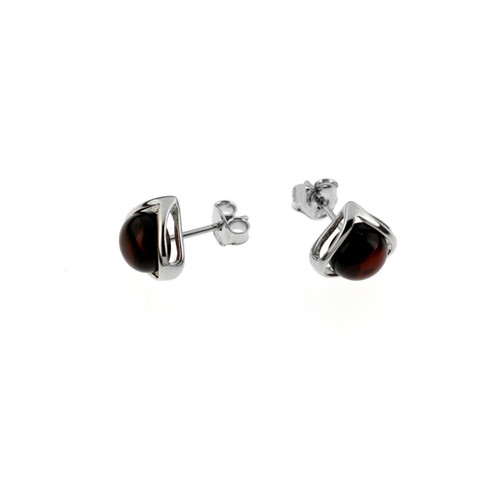Stud Earrings with Cherry Color Baltic Amber  in Sterling Silver