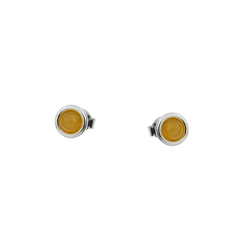 Small Butterscotch Color Baltic Amber Stud Earring in Sterling Silver