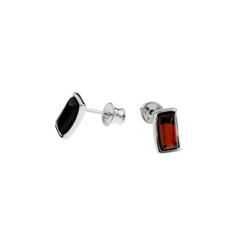 Cherry Color Baltic Amber Stud Earring in Sterling Silver