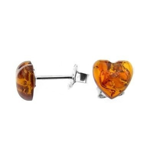 Heart shape Cognac Color Baltic Amber Stud Earring in Sterling Silver