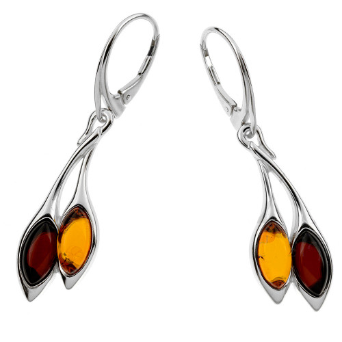 Dangle Earrings with Multi Color Baltic Amber in Sterling Silver